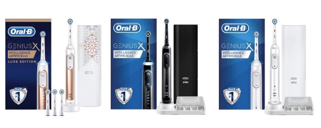Les différentes couleurs de la brosse Oral-B Genius X 20000